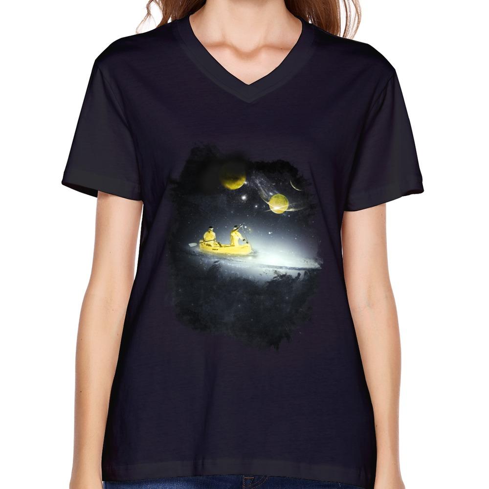 design 100 cotton short sleeve v collar space girl t