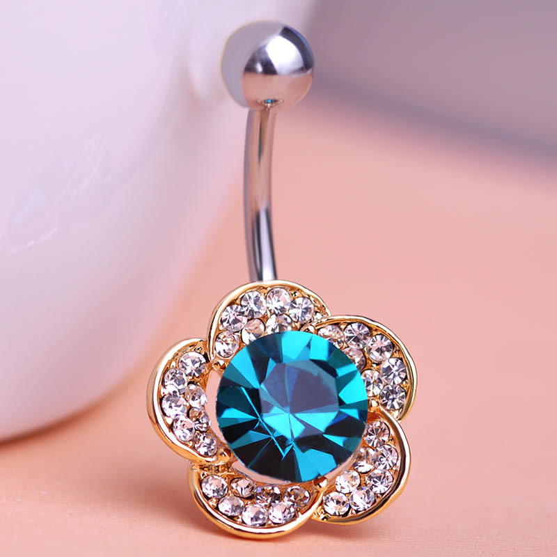 Emerald Rhinestone Flowers Piercing Belly Button Ring Barbell Piercing Ring Body Jewelry Summer Style Women Body Chains Plug(China (Mainland))