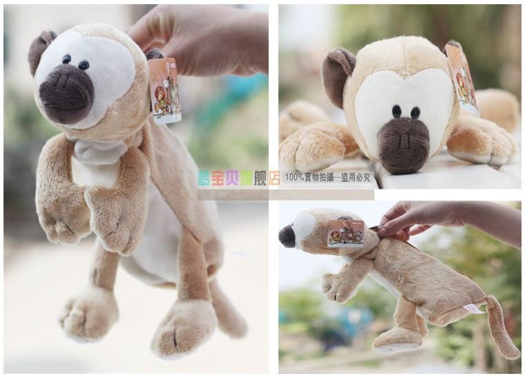 Super cute 1pc 25cm nici cartoon raccoon monkey plush school fashion pen bag pencil case toy children gift(China (Mainland))