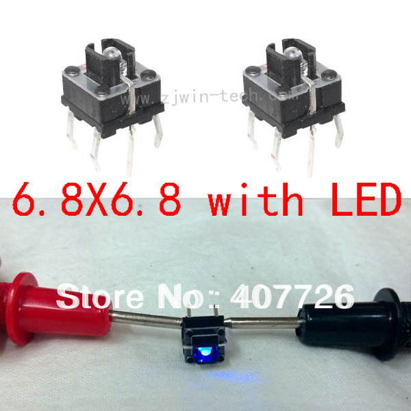 Free shipping 50pcs/lot LED push button switch 6.8X6.8 Blue illuminate tact switch(China (Mainland))