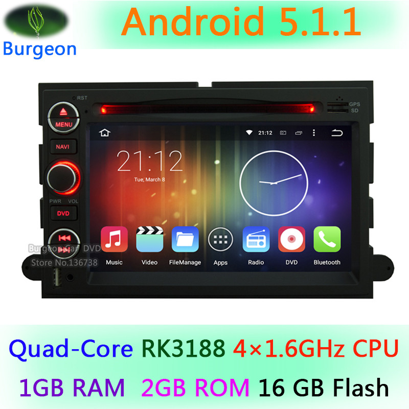 1024X600 Android 5.1.1 Quad Core Car DVD Player For Ford Mustang Explorer F150 F250 Edge Expedition Escape Freestyle GPS Radio(China (Mainland))