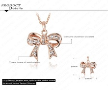 Bow Necklace Genuine SWA Elements Jewelry Real 18K Rose Gold Plated Austrian Crystal Necklaces PendantsNL0288 A