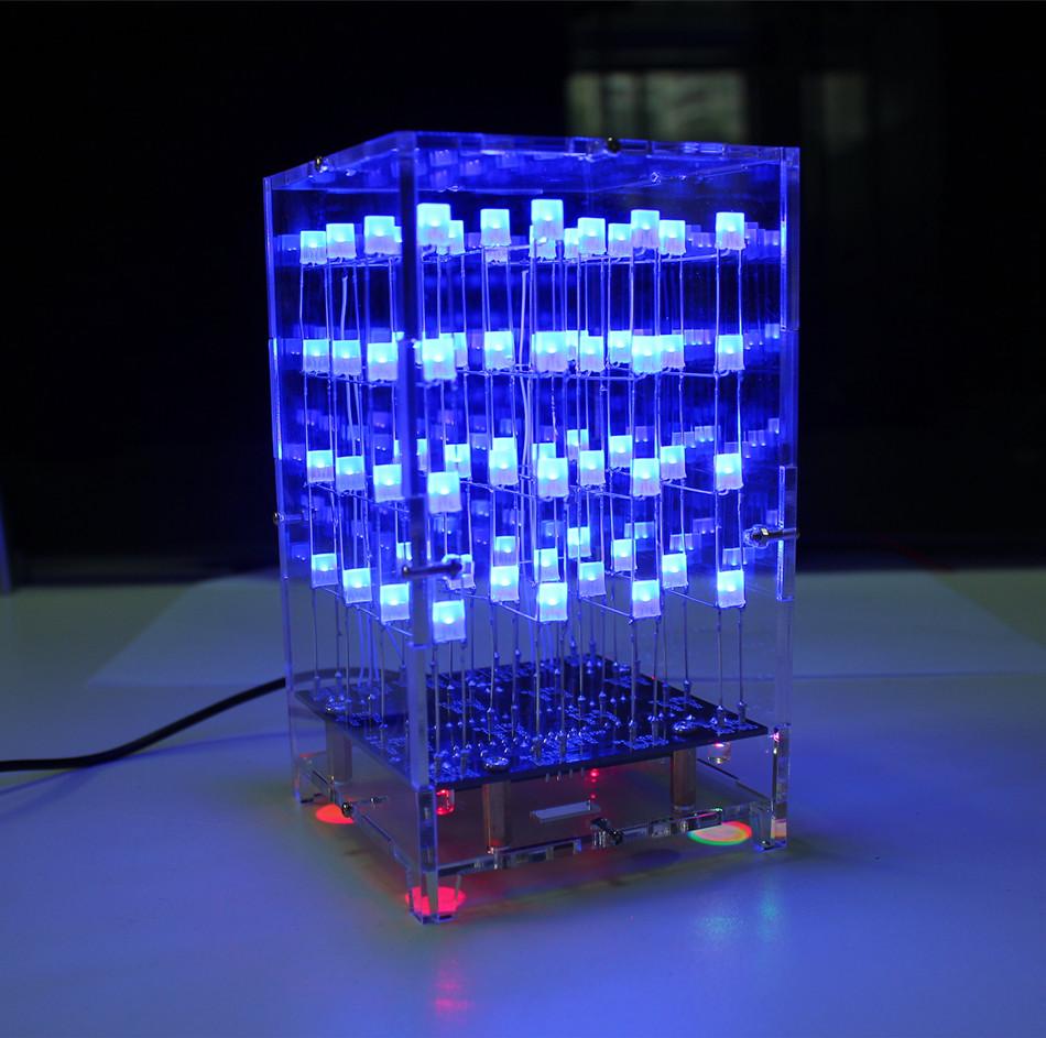 4X4X4 Blue LED Light Cube Parts Kit + Acrylic shell 3D LED DIY Kit for Arduino / 51(China (Mainland))