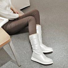 Nieve oro plata caliente de piel de invierno zapatos planos del talón de plataforma punta redonda botas de media para bajo del talón de cuña gruesa acolchado zapatos(China (Mainland))