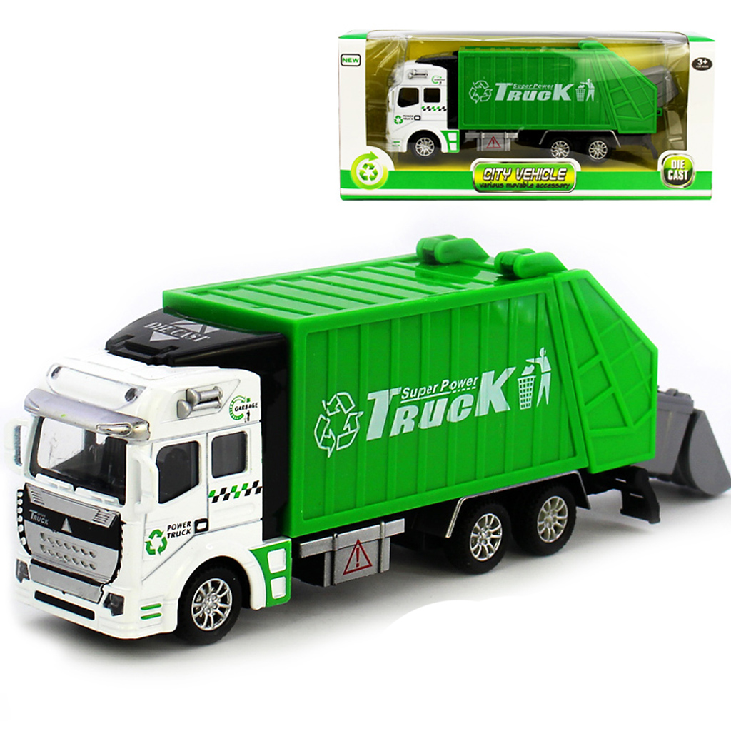 1:32 Upgraded Die Cast Pull Back Sanitation Garbage Truck Model Educational Preschool Kids Toy Gift -Green Diecasts Vehicles(China (Mainland))