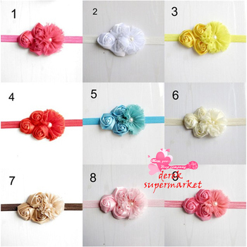 Hot Sell Rose Feather Flower Child Combination Pearl Centre Girl Pink Satin Rose  Flower Headband XM-28