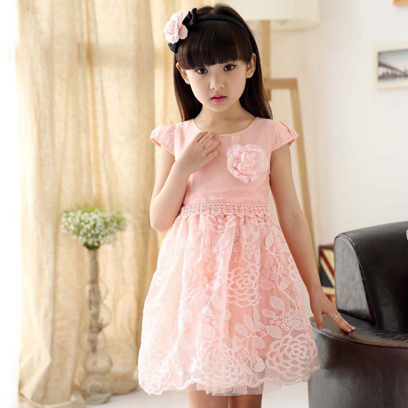 2015 summer girls dress new round neck short sleeve dress children flower lace dresses Bow kids clothing G112575(China (Mainland))