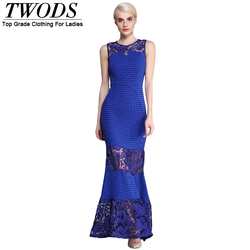 Twods Elegant Crocheted Paneled Women Maxi Dress Cutout O-neck Sleeveless Fishtail Full Dresses Slim Fit Summer Vestido Longo DF