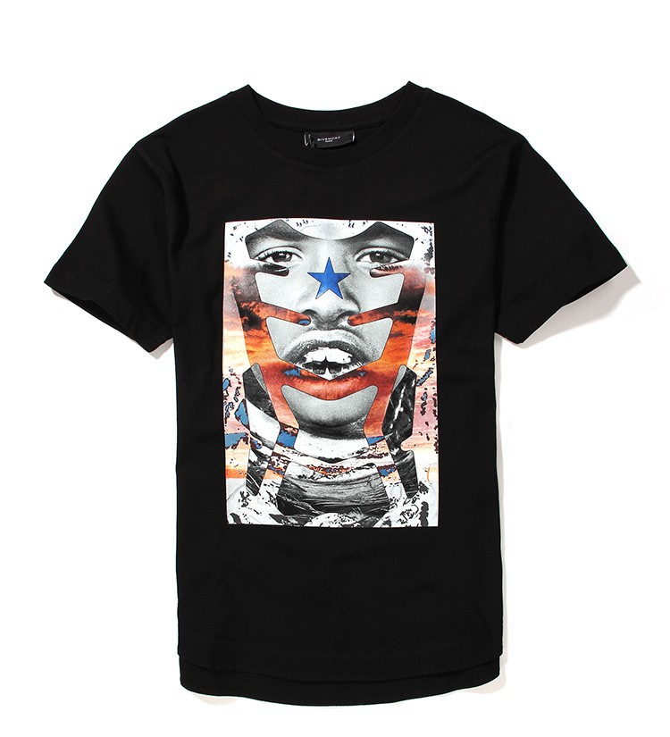 2015 Rushed Time-limited Freeshipping Short Spring Summer Collection Italian Hiphop Giv Abstract Face Mens T Shirt Cotton Tee(China (Mainland))