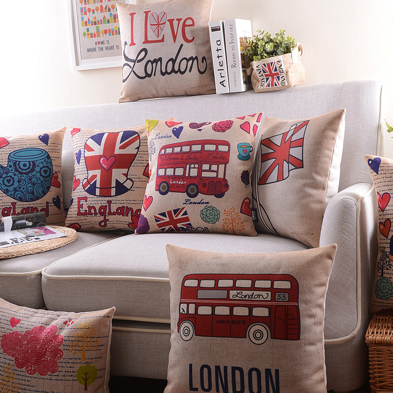 2015 Mr.Lu London impression geometric throw pillow/cartoon soldiers&cars printed cushion cover/British customs pillowcase(China (Mainland))