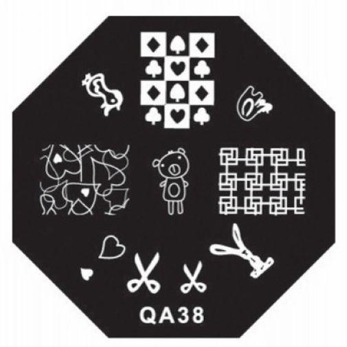 DIY Polish Charm Nail Stamp Stamping Plates Metal Nail Art Templates Stencils Manicure Tools Poker Scissors QA38(China (Mainland))