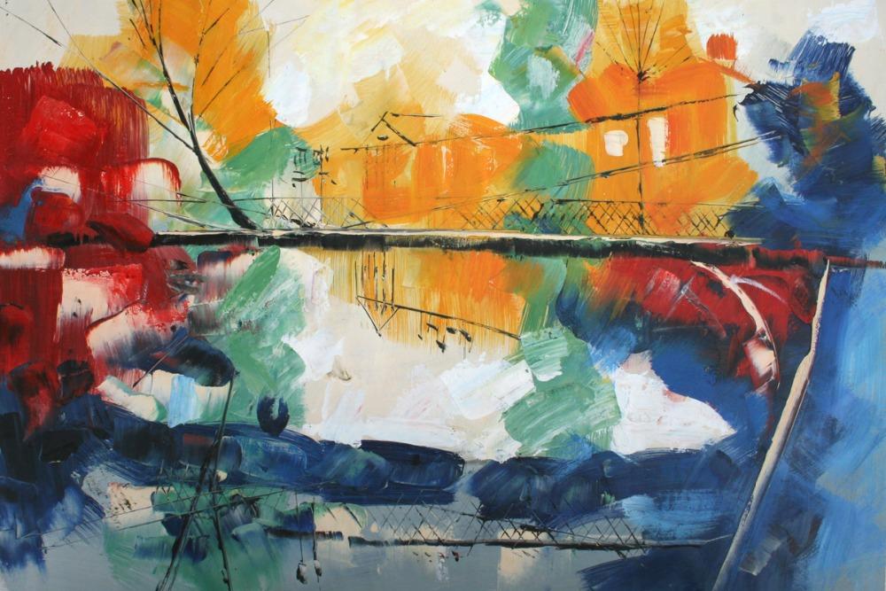 100% Handmade Modern Abstract Oil Painting Living Room SB 203 Igor Nelubovich, Canvas Wall Art Picture Horizontal