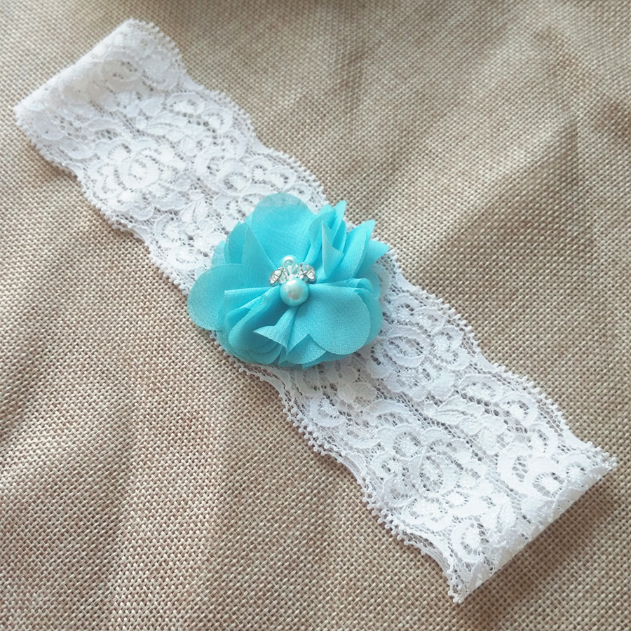 2pcs Wedding Vintage Blue Chiffon Flower with Rhinestones and Pearls Bridal Lace garter 5 2cm width