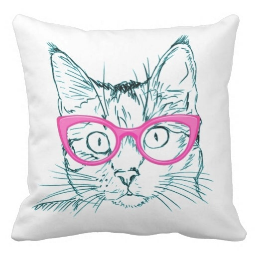 Pillow Cases Hipster Cat Pillow Case (Size: 45x45cm) Free Shipping