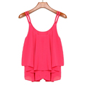 New Design 2016 Spring Summer Casual women Shirts Sleeveless Spaghetti Strap Sexy Chiffon ladies Blouses Vest