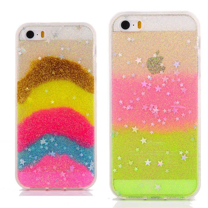 Luxury Clear Cute Back Cover Case For Apple iPhone 5 5S 5G Soft TPU Glitter Bling Stars Phone Bag New Style(China (Mainland))
