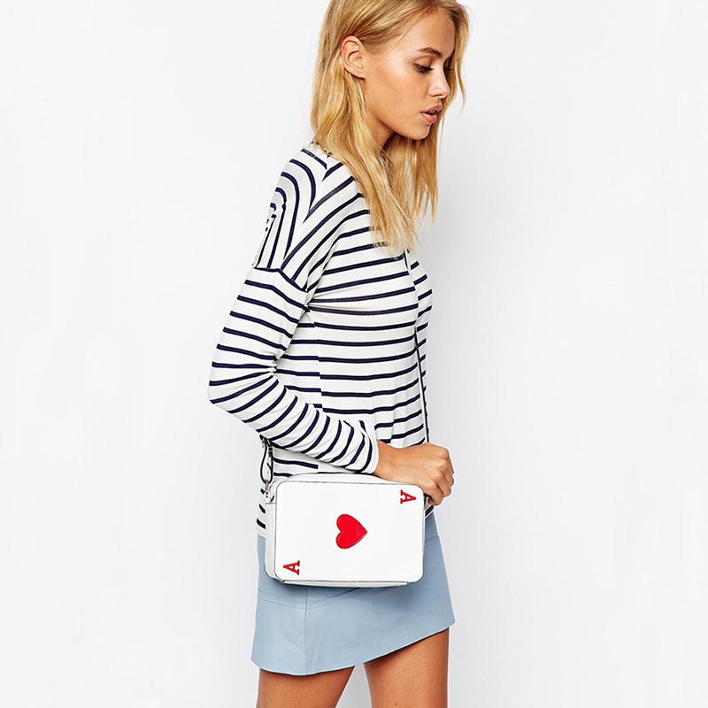 "Girl Funny Bag Poker Red Peach Heart ""A"" White Shoulder Bag Day Clutches PU Leather Playing Card Cross Body Bag Handbag XA874-2A(China (Mainland))"