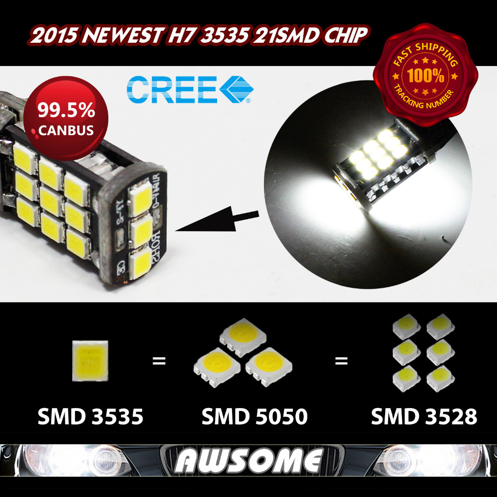 Fast Shipping W/ Tracking No. 20x H7 CREE CANBUS 21SMD 3535 1200LM LED Car Auto DRL Driving Fog Light Bulbs White/Amber/Red/Blue(China (Mainland))
