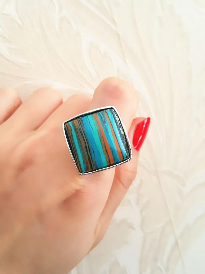Rhomb malachite ring, the fate of stone, each of the natural texture are different, mind don't buy, in gift box ALW1553(China (Mainland))