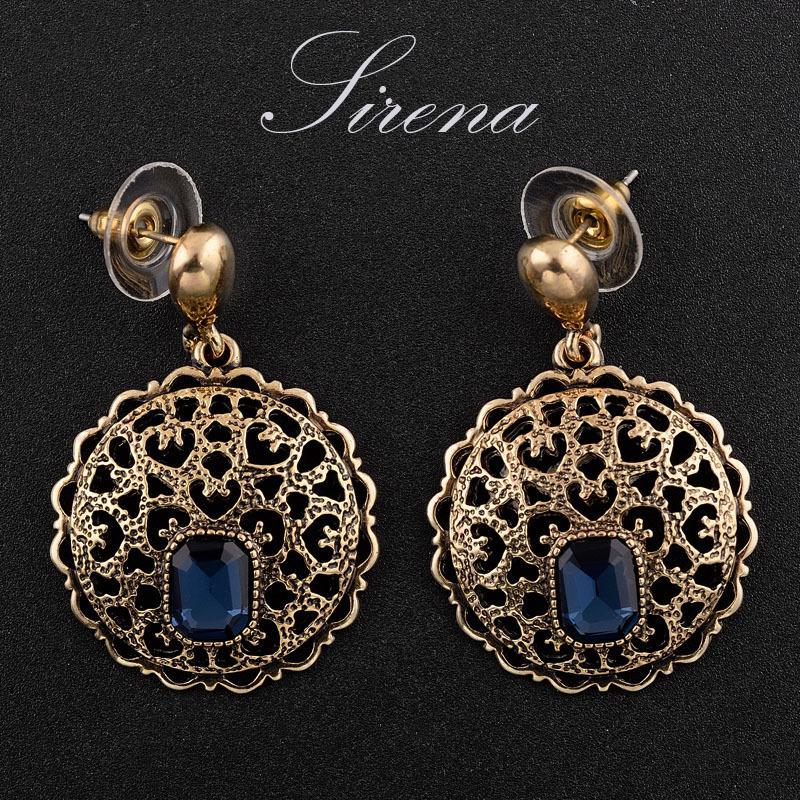 EC033 EC034 2015 Antique Gold Vintage Luxury Dangle Drop Austrian Czech Crystal Rhinestone Earrings Prom Jewelry Gift Women - SIRENA store
