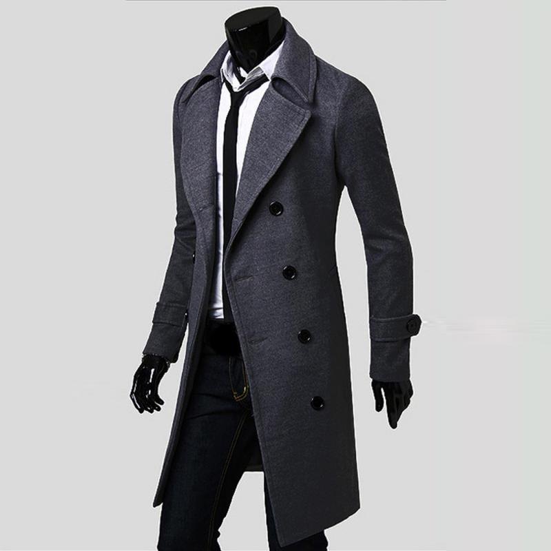 2017 Wholesale 2016 Cool Men Double Breasted Overcoat Outwear ...