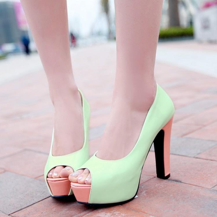 Fashion Women Fresh High Heels Ladies Peep Toe Patent Leather Platforms Shoes Square Heel European Sweet Women Summer Shoes 65(China (Mainland))