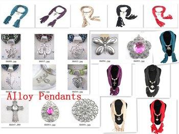 Promotional Alloy Pendants Ladies' Scarf Necklace/Jewelry Necklaces Scarves shawl wraps pashmina