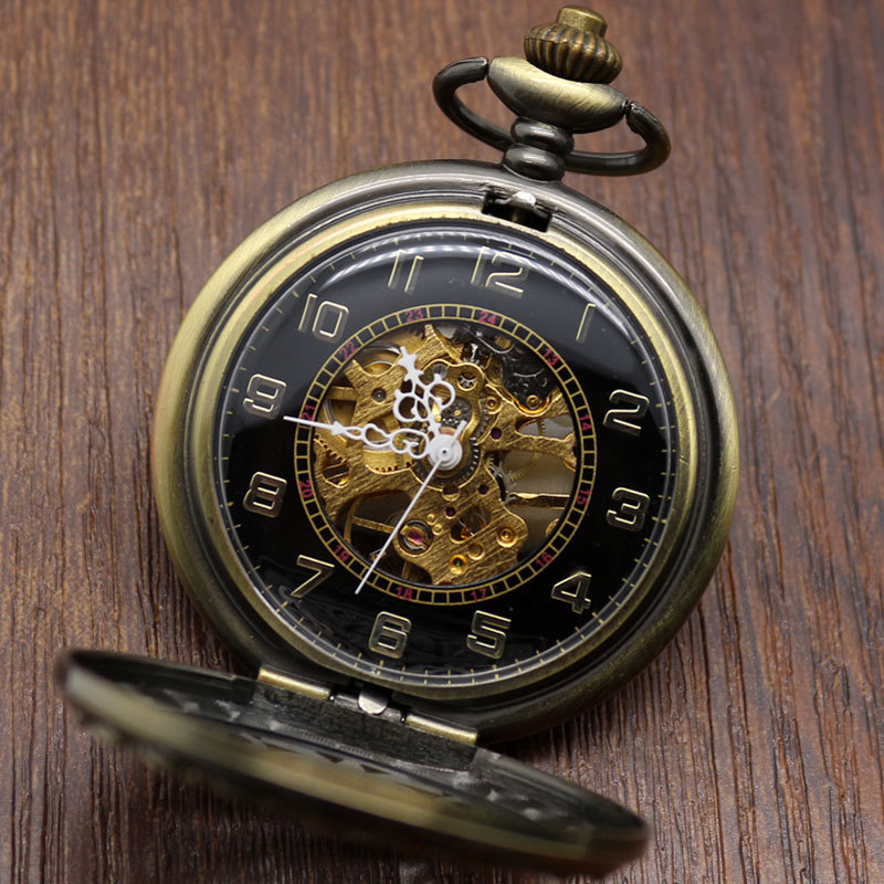 Fashion Silver Noble Automatic Mechanical Hand Wind Pocket Watch with Big Chain Pocketwatches(China (Mainland))