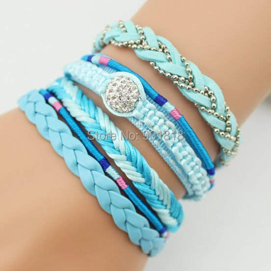 rhinestone leather handmade shamballa bracelet friendship magnetic bangles jewelry SL39(China (Mainland))