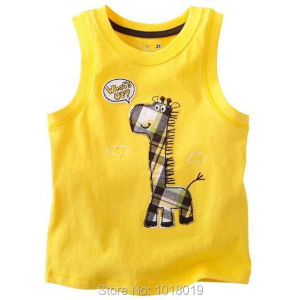 100% Cotton Cartoon Baby Kids Boys Children Clothing Clothes T-shirt Tees Base Shirts Tanks Vest Tops, Boys Summer t shirts Vest(China (Mainland))