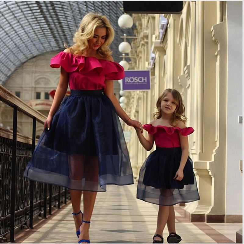 Fashionable 2016 New Sexy Tea-Length Hot Pink Navy Blue Organza Ball Gown Prom Dresses Long Evening Party Dress vestido de festa(China (Mainland))