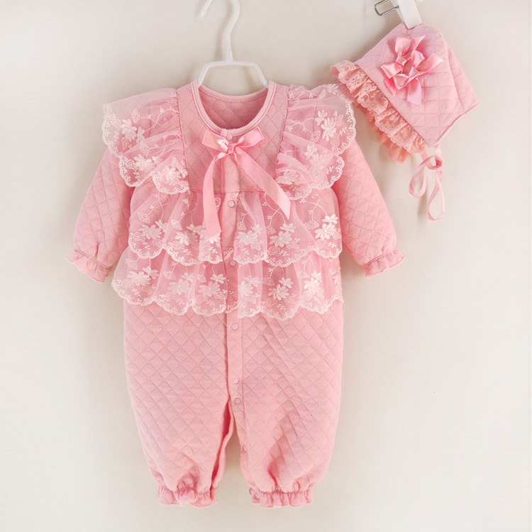 Newborn baby girl clothes high quality winter thicken bebe coveralls princess lace infant rompers dress baby clothing<br><br>Aliexpress