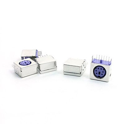 5pcs Metal Cover 6P DIN PS/2 Mouse Keyboard PCB Socket Connector Purple<br><br>Aliexpress