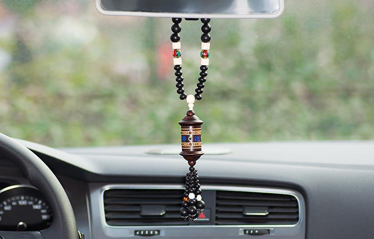 Peach Wood Carved Car Amulet Pendant Prayer Wheel ShapeHanging Accessory chinese Car Ornaments Free Shipping(China (Mainland))