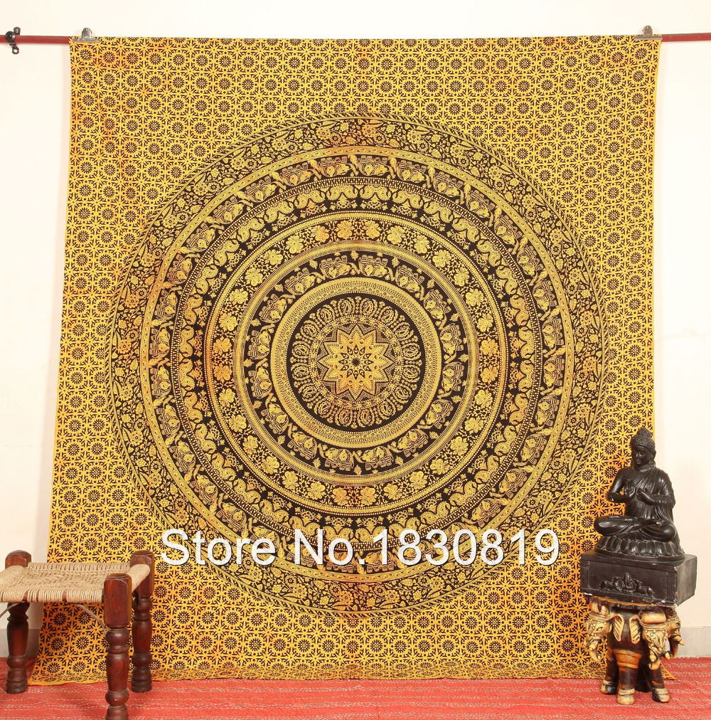 Indian tapestry psychedelic elephant and florals hippie for Fomic sheet wall hanging