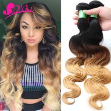 8A Blonde Weave Bundles Brazilian Ombre Human Hair 1B 4 27 Body Wave Cheap Three Tone Ombre Brazilian Hair Body Wave 3 Pcs Lot(China (Mainland))