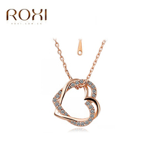 ROXI New Brand Jewelry Double Heart Pendants Crystal Rhinestone Necklace Gold Plated Platinum Chain Women Ladies Party Jewelry(China (Mainland))
