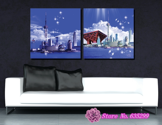 2 Pieces Canvas Wall Art Picture Painting Decoration Home Canvas Prints The Shanghai Oriental
