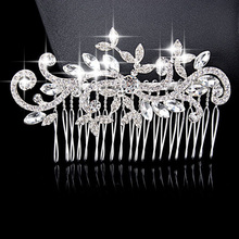 Women Wedding Jewelry Environmental Friendly Zinc Alloy 888 Rhinestone Bride Hair Comb Accessories White Crystal Bridal Combs(China (Mainland))