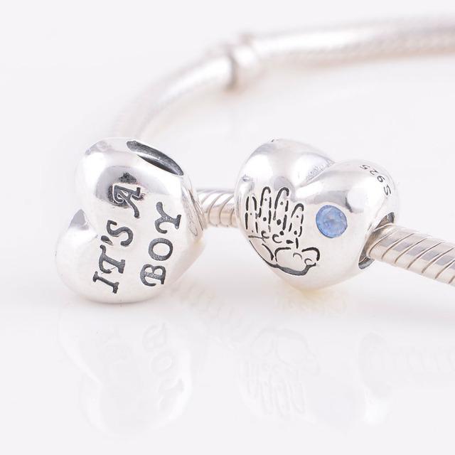 Новые 925 серебряные ювелирные изделия бусины мальчик в форме сердца с голубой CZ женщины DIY очарование ювелирные подходит пандора оригинальный браслет