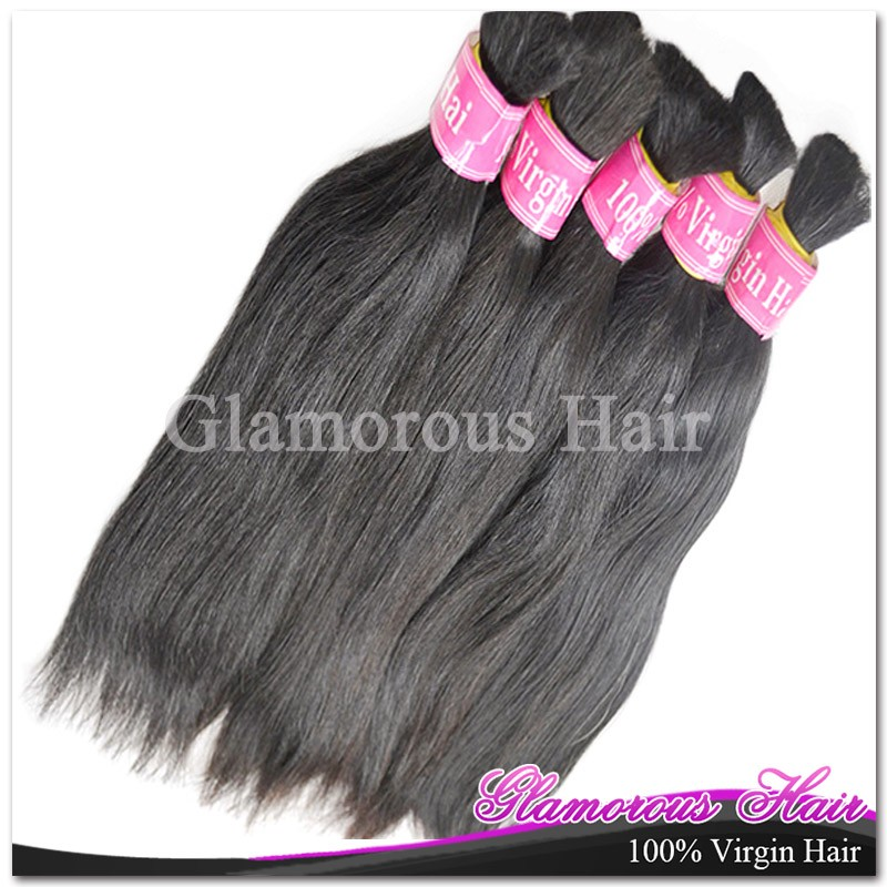 Glamorous 1Piece Only Top Quality Unprocessed Hair Bulk Brazilian Bulk Hair Extensions Straight Hair Style Fast Shipping