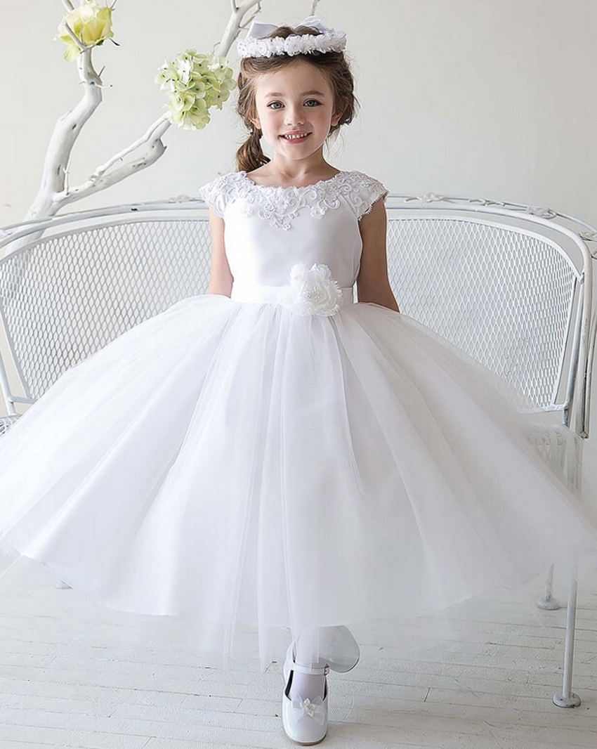2016 new cheap simple tulle flowergirl white flower girl for Girls dresses for a wedding
