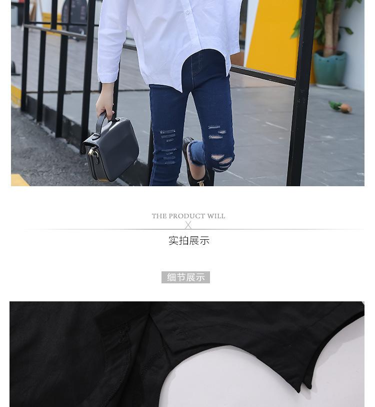 Girls Autumn Bats Long-sleeved Jacket Hot Cotton Shirts Kids Clothing White Black
