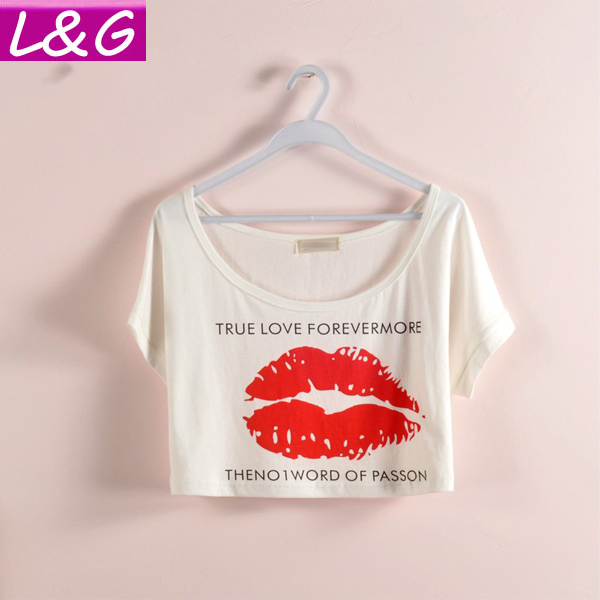 New 2015 Summer Style Women T shirt Hot Selling Lips Print Short Tshirt Crop Top Plus Size Tee Tops 21034(China (Mainland))