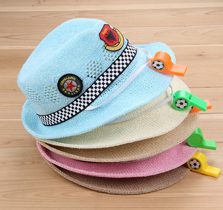 children's summer style sun hat kid's jazz hat baby's cartoon whistle hat candy color badge decoration straw hats beach cap 2-6Y(China (Mainland))