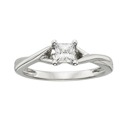 Party Ring 1/3CT Diamond Solitaire Princess Cut Ring in 14K White Gold Cross-Over Ring Lab Grown Diamond Jewelry(China (Mainland))