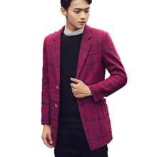 Autumn and winter men's Plaid wool coat and long sections Slim woolen trench coat male coat tide male British trench coat 165(China (Mainland))