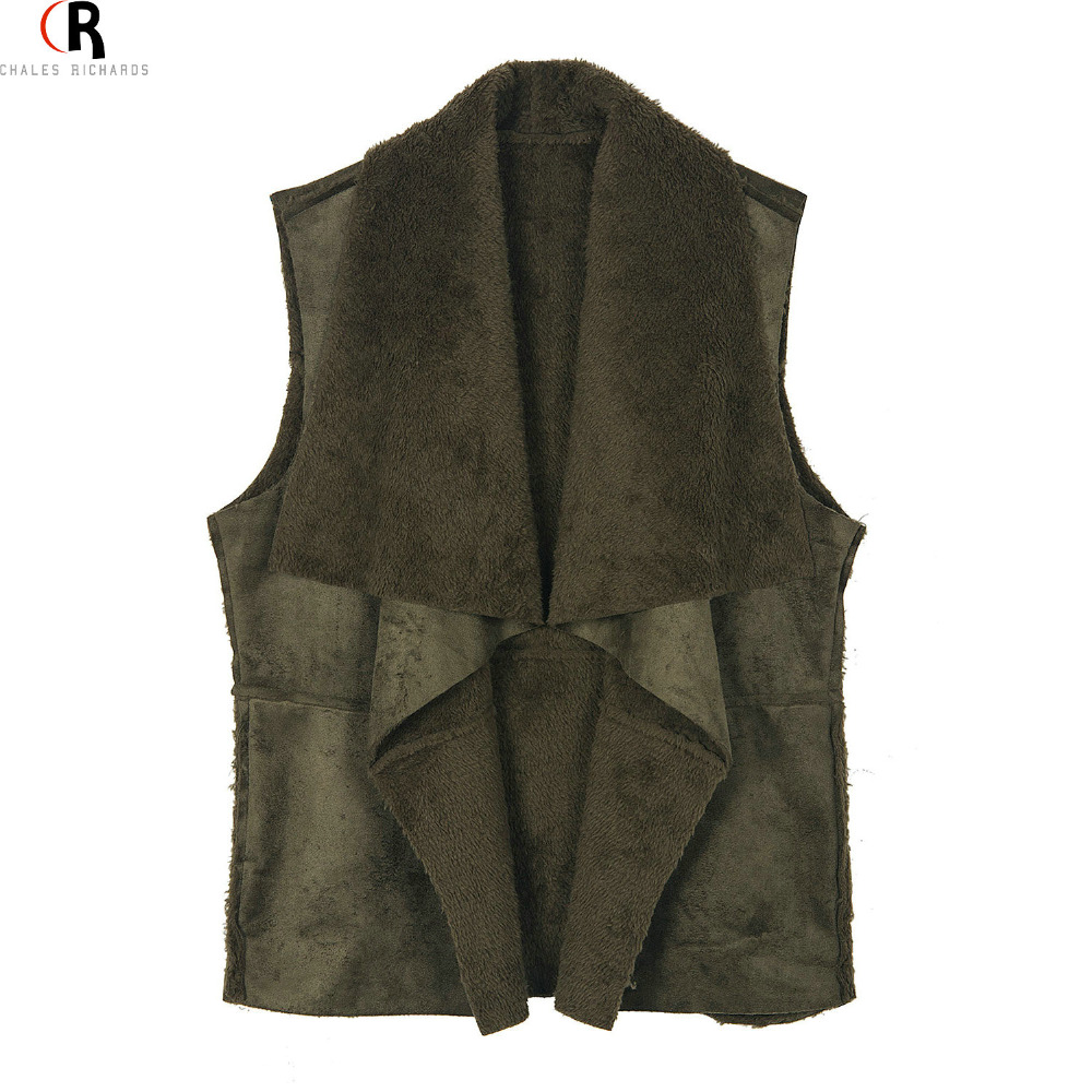 CHOIES Flocking Inside Patching Faux Suede Leather Fall Waistcoat Khaki Army Green Loose Casual Open Front Vest Coat 2015 WomenОдежда и ак�е��уары<br><br><br>Aliexpress