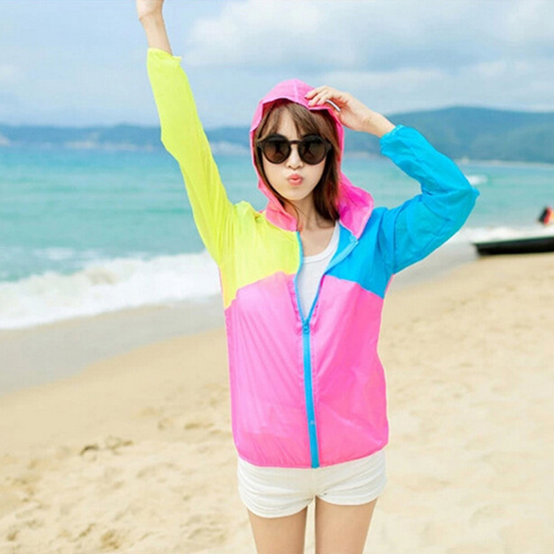 Women Hooded Coat Multi-color Long Sleeve Sun Protect Transparent Clothing Beach Shirt Thin Outerwear sun protection dresses(China (Mainland))