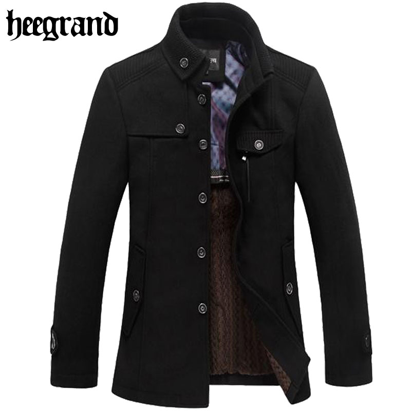 Business Style Pea Coat Men 2016 New Winter Wool Coat Male Casual Slim Fit Winter Outdoor Overcoat Men Long Wool Blends MWN100(China (Mainland))